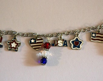 USA Patriotic Red, White and Blue, Silver Charm bracelet with beads