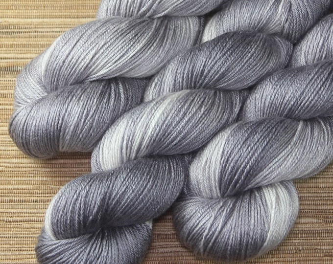 Featured listing image: Hand dyed yarn - 100g Silk/Merino fingering weight in 'Quick Silver' - With free cowl pattern