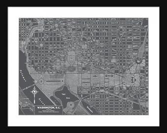 Washington DC  Map - Washington - Gray - Print - Poster