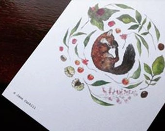 Peaceful Fox Illustration Print