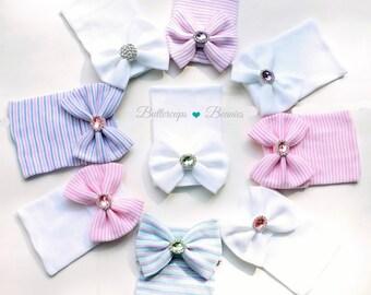 Newborn hat girl, newborn beanie, infant baby hat, coming home outfit,  baby hospital hat, newborn hospital hat with bow, baby girl hat