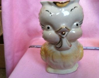 Owl Planter Vintage With Gold trim