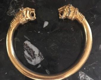 Stunning, Vintage, Gold, Lion, Bangle