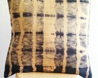 Hand dyed cushion, Shibori pillow, yellow and black cushion, hand dyed pillow, shibori cushion, 18 x 18 inch pillow cover,  yellow cushion