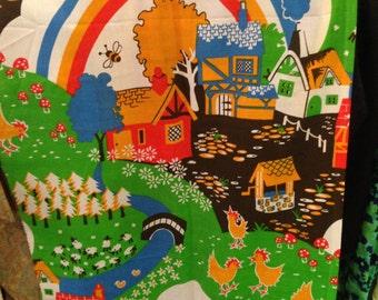 Vintage fabric.. Nursery theme. One panel 114 inchesx21 inches. Good