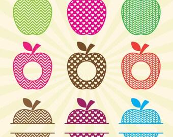 Apple Monogram SVG, Apple SVG Monogram Frame Cut Files - Vector svg dxf eps png - Silhouette Cameo, Cricut, Cutting Machines & Transfer