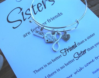 Sister Bracelet Sister Gift Christmas Gift idea Make a Wish Bracelet Bangle Infinity Charm Wish Gift For Sister Sisters Forever Friends