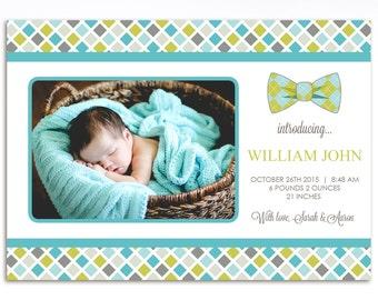 Modern Boys Birth Announcement - Printable Birth Announcement - Baby Boy Birth Announcement - Birth Announcement - BA13