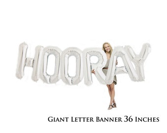 Giant Hooray Party Balloons | Graduation Party Balloon Graduation Balloon Banner Retirement Party Engagement Party Congratulations Congrats