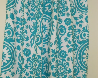 Suzani turquoise blue and white, unlined drapes (two 25W x 84L panels) rod pocket, cotton curtain panels