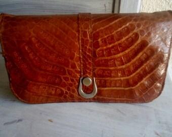 Croco   shoulderbag,vintage shoulderbag- (leather and croco skin)period 50/60