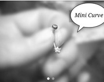 "Micro Star Clear CZ Curved Bar Barbell Rook Daith Snug Eyebrow Mini Belly Button 16g 3/8"" 10mm Surgical Steel 316L Piercing Jewelry"
