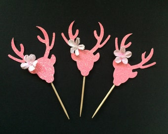 Baby Shower Girl Decorations,Deer Cupcake Toppers,Doe Cupcake Toppers, Pink Doe,Glitter Baby Shower, 12 CT.