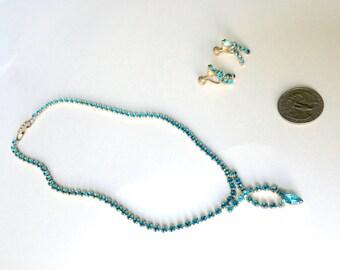 Aqua rhinestone necklace and earrings set Vintage