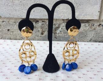 Vintage Avon Gold Tone earrings, Vintage Avon earrings, Goldand blue Avon earrings, Avon earrings, Dangle Avon Earrings