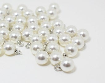P0422/Anti-tarnished Rhodium Plating Over zinc alloy + Artificial Pearl/8mm Artificial Pearl Pendant Medium/8mm/10pcs