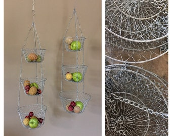 Set Of Two Vintage Three Tier Hanging Baskets / Hanging Wire Baskets /  Vegetable Basket /