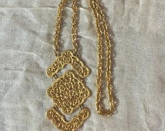 Large Gold Statement Necklace / Vintage Gold Statement Necklace / Large Gold Y Necklace