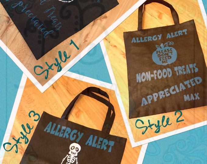 Allergy Alert Treat Bags, Teal Pumpkin Project, Don't feed me, Allergic to nuts candy treat bags, Special Diet Bags, Halloween Treat Bags