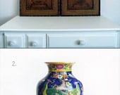 Custom Listing for Samantha - Large Antique Japanese Vase & Old-World Tropical Island Art S/2