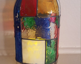 Stained glass mason jar, mason jar decor, stained glass