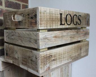 log box/wooden box/Personalised  Wooden Crate/wooden crate/custom wooden box/rustic crate/wedding box/ wedding crate/logs box/handmade box
