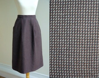 1970s St Michael Wool Midi Pencil Skirt * Size Small