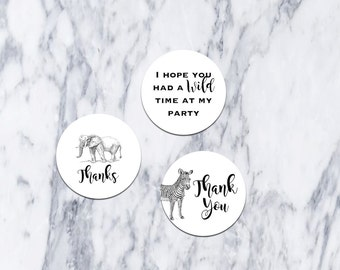 Printable-Favor Tags-Wild-Safari-Birthday-Party-Thank You-Favors-DIY-Black-White-Elephant-Zebra-Tags-Fiesta-Boy-Girl