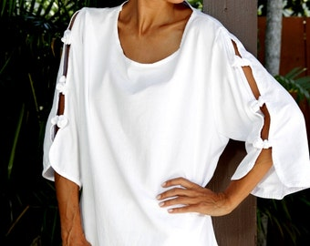 ALIKY Organic Woven Cotton Cut Off knots Sleeve Tunic Top