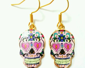 Day of the dead earrings, sugar skull earrings, day of the dead jewelry, sugar skull jewelry, skull earrings, candy skull earrings