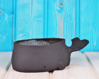Sweet Whale-grey Walschale-pot-deco-interior light blue glazed-witty gift idea-decoration-production on order