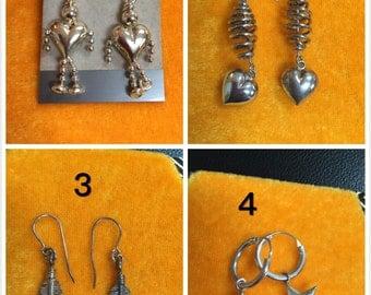 Sterling silver Earrings / 4 pairs