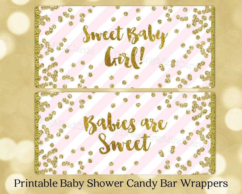This is a picture of Dramatic Free Printable Baby Shower Candy Bar Wrappers