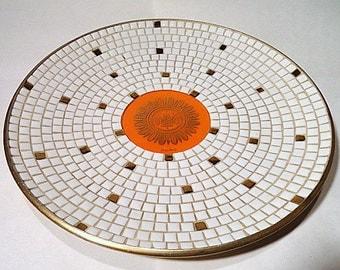 "Mid-Century Georges Briard 14"" Dia Mosaic Tile Platter"