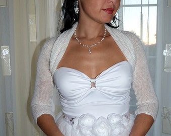 Elegant White Bridal Bolero Shrug, Wedding Bolero, Openwork White Bolero Shrug