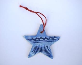 SUMMER SALE - Blue Star Ornament - Beach / Seaside