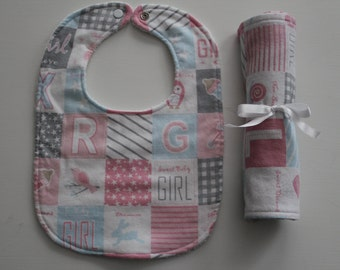 Baby Girl Burp Cloth and Bib Set