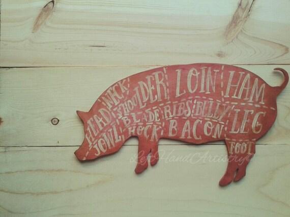Man Cave Cutz : Vintage wood pork cutz sign hand cut
