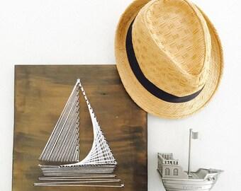 Wooden Sail Boat String Art Baby Nursery/Kids Room Decor