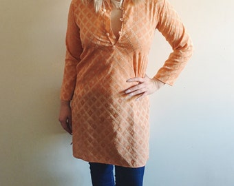 Vintage Tangerine Hue Traditional Kurta with Light Gold Embroidery