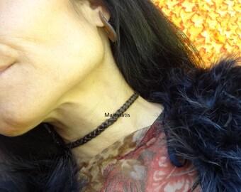 3 in 1 braided leather choker - hairband - headband, flat 3 strand braid, ajustable, genuine leather womens gift for her custom made