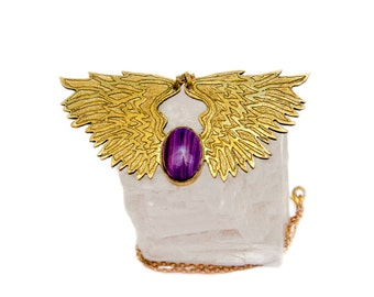 Angel Wings brass necklace Brass necklace Purple agate brass necklace Angel necklace Gift for her