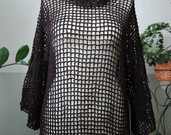 Crocheted brown lace sweater, summer pullover