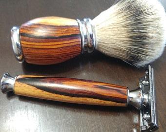 Cocobolo shave set, shaving kit, shaving, guys gift, groomsman gift, shave brush, safety razor, shave stand