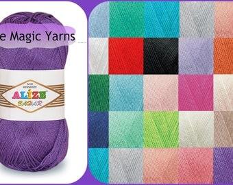 ALIZE BAHAR mercerized cotton, summer yarn, crochet yarn, 8ply, DK, medium, 13wpi, pink,purple,blue, cream, beige.white,yellow,red,grey