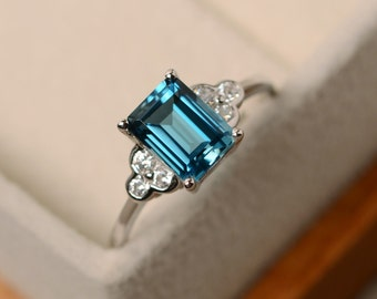 London blue topaz ring, emerald cut, silver, promise ring
