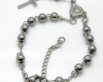 Rosary beads cross bracelet , religious gift jewelry Stainless Steel