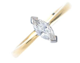 Vintage 18 Carat Yellow Gold Marquise-shape Diamond Single-Stone Ring, Solitaire, Engagement, Wedding, UK Seller, UK size M 1/2