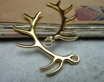 10 Antler Charm Antique Silver Tone 2 Sided Large Size - WS7958