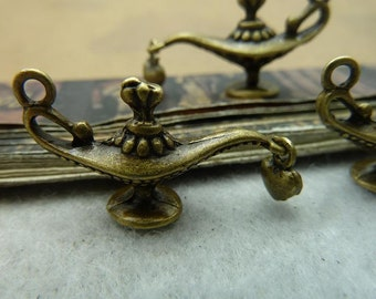 10 Genie Lamp Charms Antique Bronze Tone 2 Sided - WS5977